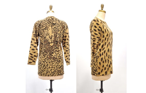 Vintage 1980s coffee coloured leopard print sweater set | 80s animal print lambswool sweater | size medium