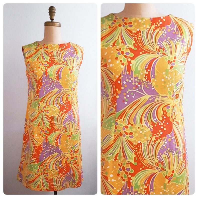 1960s psychedelic shift dress   60s sleeveless multicolor summer dress size large