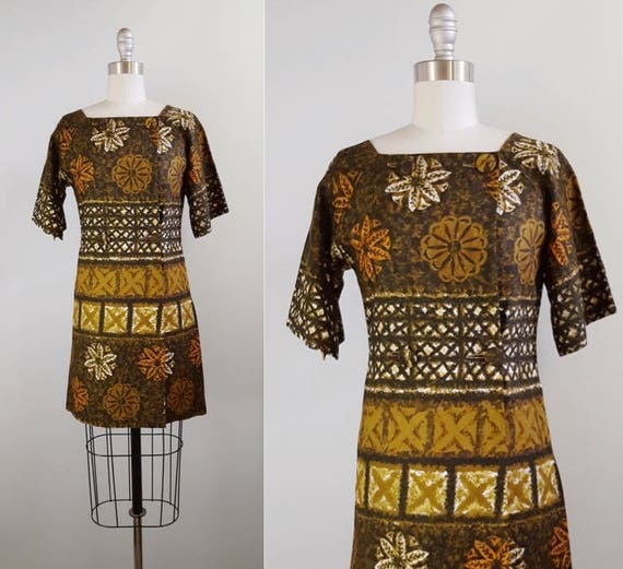 1960s Hawaiian print dress | 60s batik dress size small