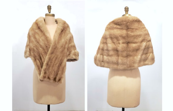 Vintage 1950s Blonde Mink Stole | Wrap | Shawl with long front | Size Medium