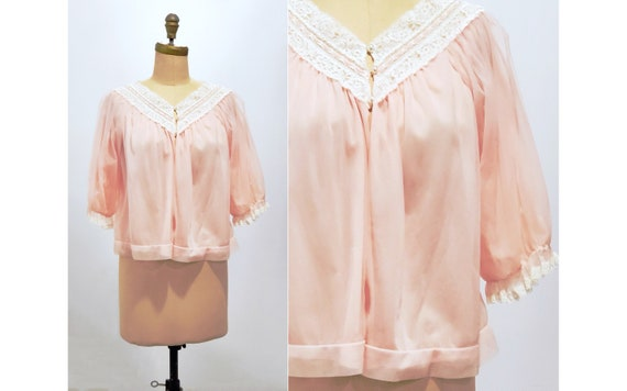 1960s Vanity Fair soft pink lingerie bed jacket | 60s nylon and lace boudoir jacket | size medium