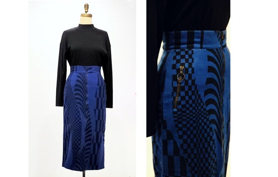 Vintage 1980s Fiorucci pencil skirt | 80s blue and black geometric design high waisted skirt | size small to medium