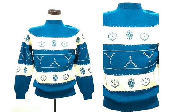 Vintage Italian knit sweater | 1970s turqoise blue Italian knit Simpson's sweater | size medium