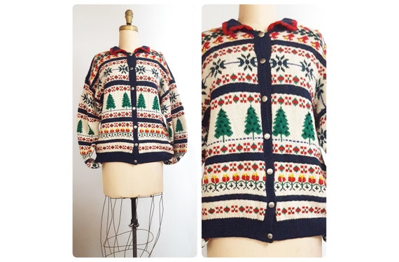 1970s hand knit cardigan   70s tree motif sweater   Made in Hong Kong size large