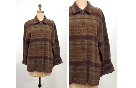 Vintage 1960s/1970s acrylic wool blend southwestern design shirt jacket size m - l