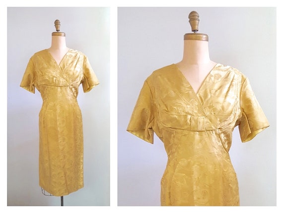 Golden fleurs | 1960s wiggle party dress | 60s gold brocade cocktail dress