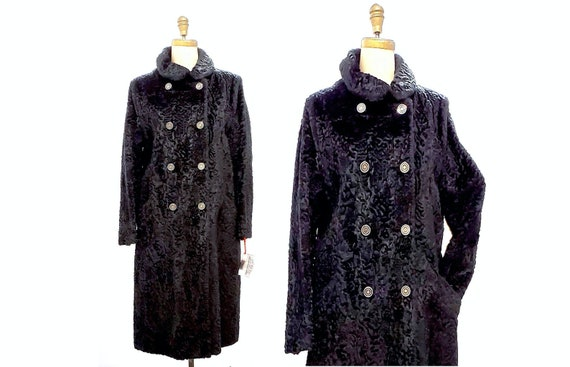 Vintage 1960s faux Persian lamb fur coat | 60s black vegan coat