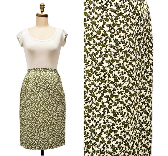 Vintage 1960s floral skirt | 60s green and white straight skirt | size medium