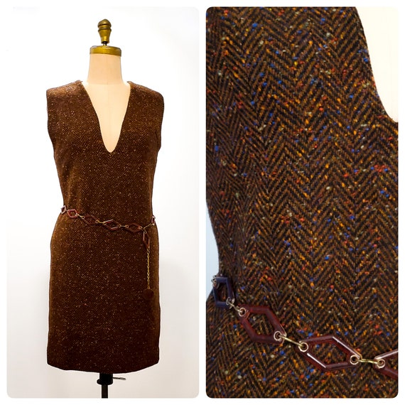 1960s herringbone tweed jumper | 60s mod dress | size medium