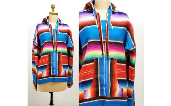 Vintage 1990's, woven, cotton, Baja, hoodie, in good vibes rainbow colours