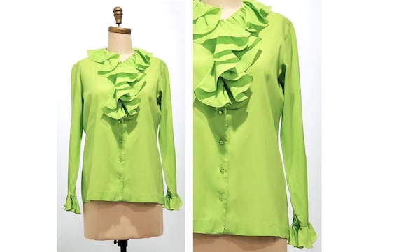 Lime cordial blouse | 1970s green blouse | 70s ruffled top | size medium