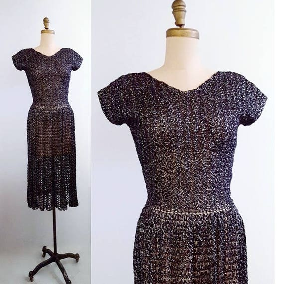 Take your little black cocktail dress to the next level | 1950s hand crochet dress | 50s lace crochet dress with silver metallic thread