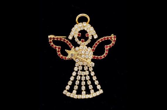 Vintage 1960s red and silver rhinestone goldtone angel brooch | 60s holiday season brooch