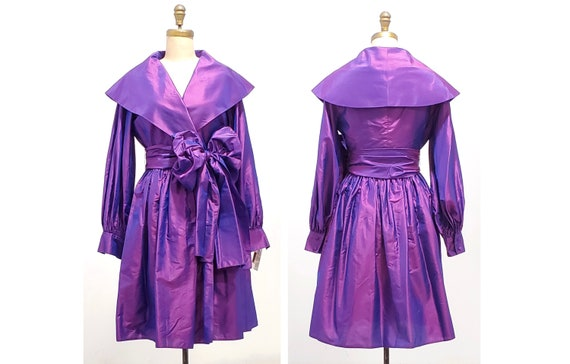 Couture 100% silk Jennifer George by Night purple wrap style dress | Silk dress NOS Never Worn | Size 8