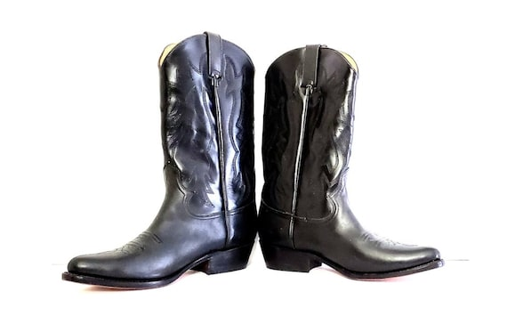 Retro black leather western boots | Tom Houston cowgirl boots Size 7 1/2