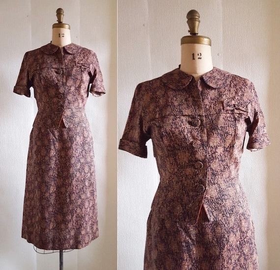 1950s Lora Lenox 2-piece skirt and jacket | 50s novelty print dress set