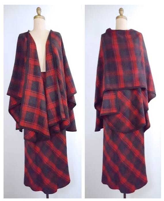 1980s pencil skirt with cape | 80s red plaid wool