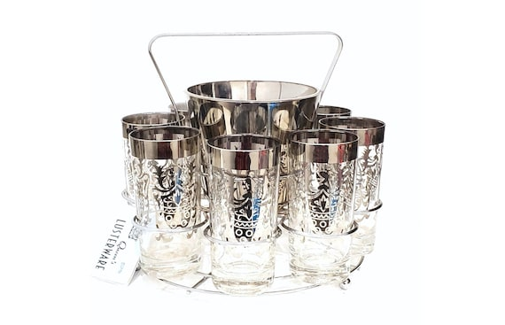NOS 1950s Vintage Party Set Silver Band Kimiko Tumblers / Queen's Lustreware Guardian Silver Knight MCM Glasses w Ice Bucket & Chrome Caddy