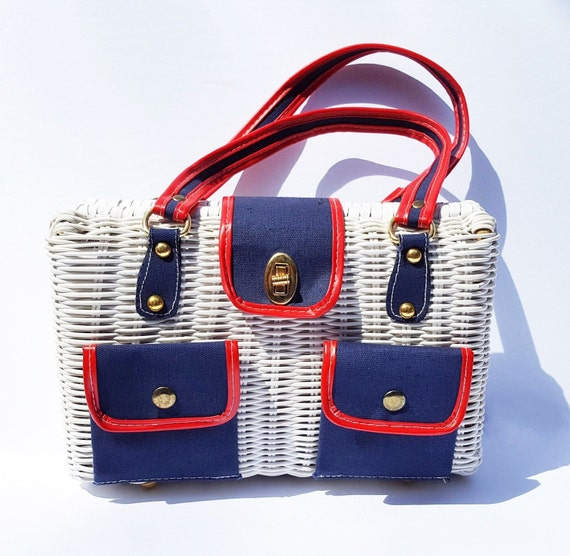 1960s white rattan purse with 2 front pockets | 60s red white and blue wicker handbag