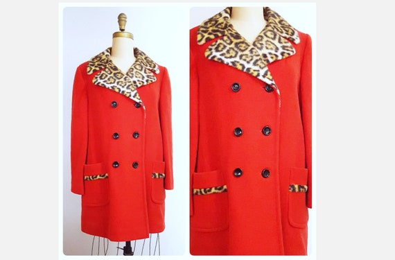 1960s doubled breasted red wool winter coat | 60s faux leopard print trimmed jacket size large