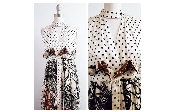 1960s vintage sheath dress | 60s polka dot and barkcloth dress size xsmall