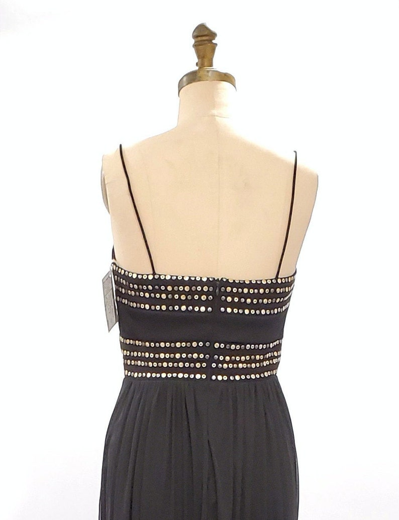 1980s black studded Grecian style flowing dress 80s 90s maxi cocktail party dress size medium