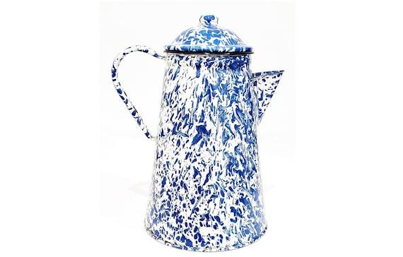 Coffee Pot French Country Graniteware w/ Blue & White Marble Swirl | Vintage Rustic Farmhouse Enamel Coffee Pot | Art Deco Kitchen