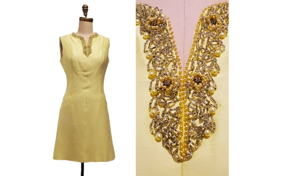1960s yellow silk dress | 60s beaded cocktail dress | size small
