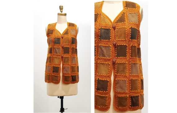 Vintage 1970s long suede crocheted patchwork vest | 70s hand knit vest | size medium