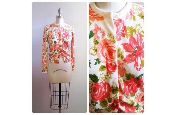 Pink spring blooms  | 1960s pink and white floral cardigan with pearl buttons | 60s rose floral sweater