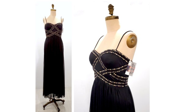 1980s black studded Grecian style flowing dress | 80s 90s maxi cocktail party dress size medium