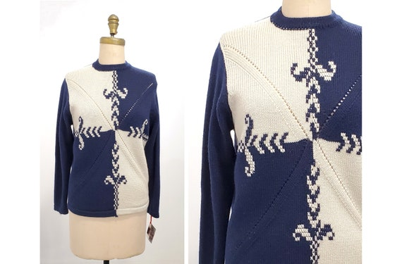 Vintage 1960s hand loomed wool sweater | 60s navy blue and cream Mr Toni British Hong Kong wool pullover  | size medium