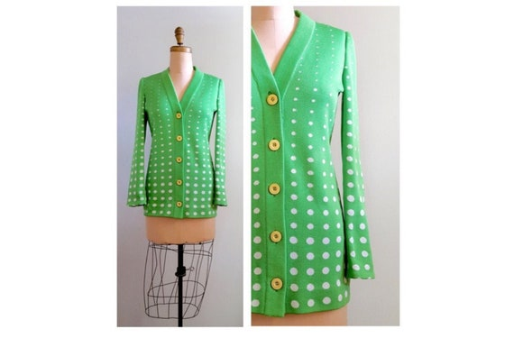 1960s Italian knit cardigan in green with white polka dots | 60s green and white front button sweater