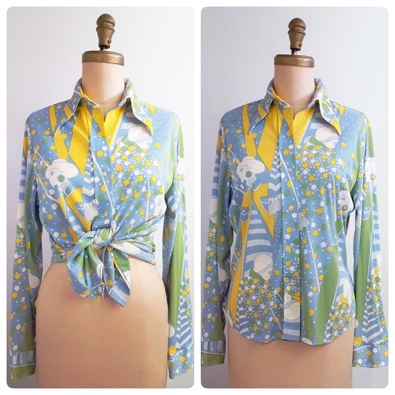 1970s polyester disco shirt | 70s graphic print button front shirt size medium