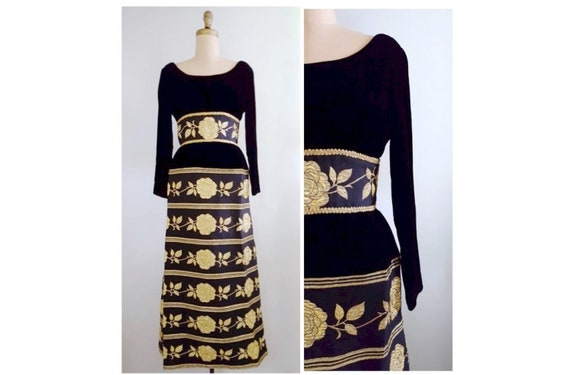 1960s black velvet and gold lame dress | 60s maxi cocktail dress with gold roses
