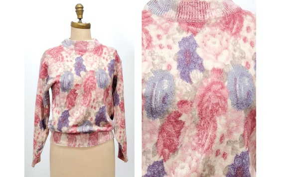 Vintage 1980s pastel print sweater | 80s floral sweater | size medium