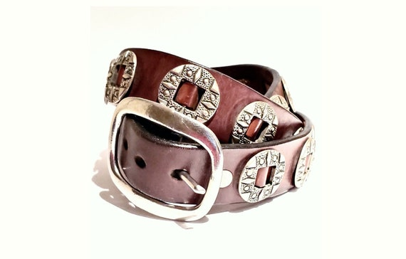 Vintage leather Concho belt at its best! | Leather with 26 signed and stamped Conchos | Western style belt | Size XXXL 52""