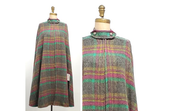 1970s gray, green, fuchsia, and gold plaid full length cape | 70s wool cape