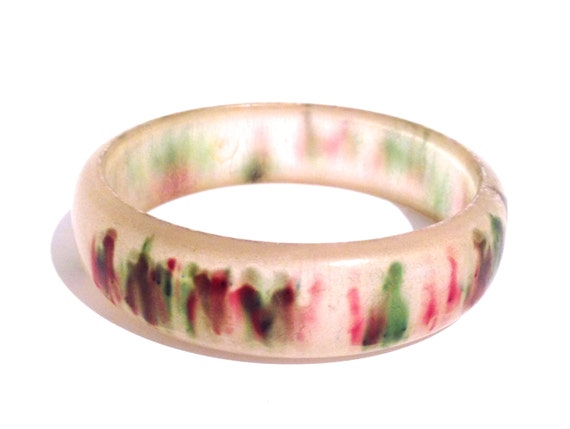 1950s frosted lucite bracelet | 50s atomic design bangle | 3 coloured lucite bracelet