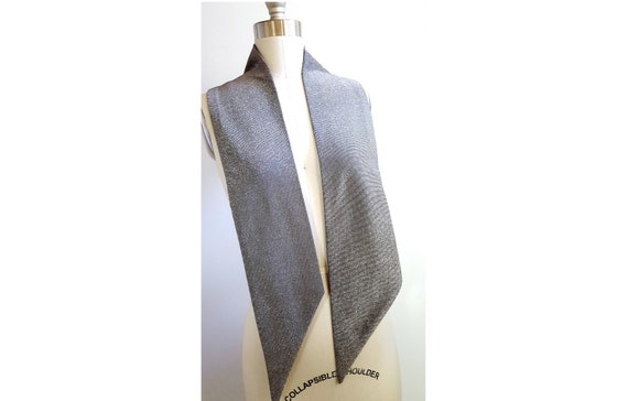 1960s silver lame scarf | 60s metallic tie | unisex