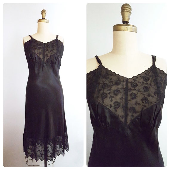Promise me a rose garden | 1950s black lace slip nightgown | 50s lingerie | NOS New Old Stock