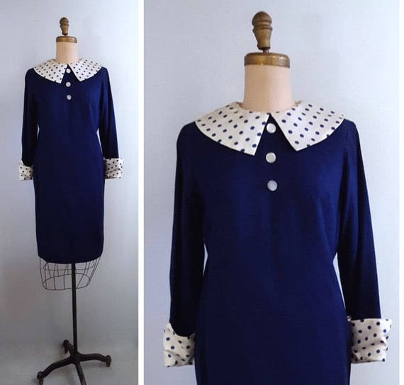 1960s polka dot satin collar and cuffs dress | 60s navy mod dress