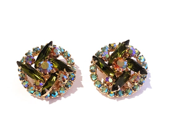 1960s round elegant green rhinestone clip on earrings