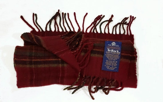 Vintage Scottish lambswool fringed plaid scarf | 1980s  wine, burgundy, gray, olive, gold  tartan scarf