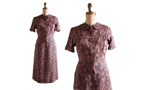 1950s Lora Lenox 2-piece skirt and jacket | 50s novelty print dress set