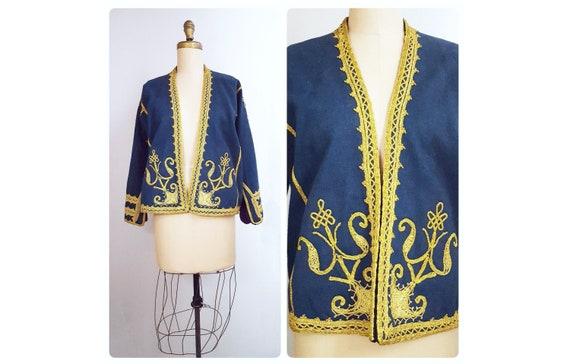 Individuality defined | vintage embroidered India wool jacket | Kashmir blue wool ethnic folk blazer | boho hippie jacket