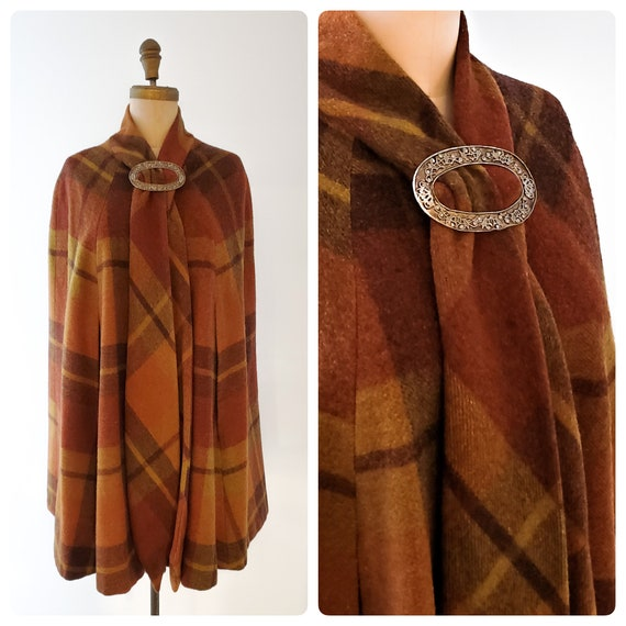 1960s brown, gold and cinnamon plaid cape | 60s wool cape