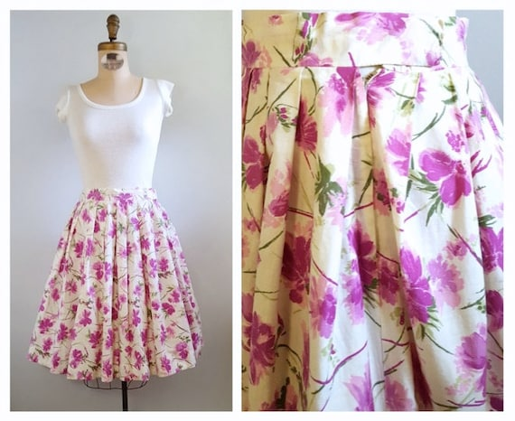 Pink springtime blooms | 1950s white and pink skirt | 50s floral print full skirt