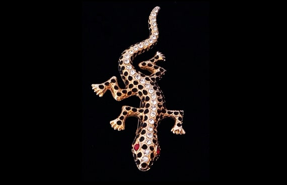 "1980s gecko lizard large statement brooch 4.25""  or 11 cm"