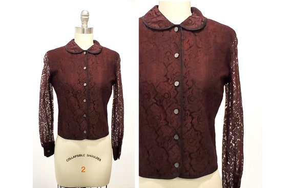 1960s black and wine lace top | 60s burgundy lace blouse with Peter Pan collar size small